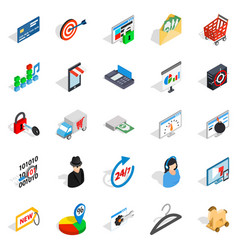 online service icons set isometric style vector image