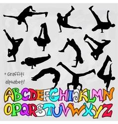 silhouettes set of break dancers vector image