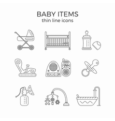 Thin line icons set of baby or infant first need vector image