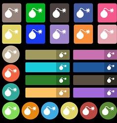 Bomb icon sign set from twenty seven multicolored vector