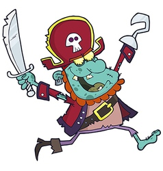 Cartoon Pirate Zombie With A Cutlass vector image