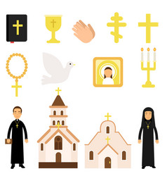 collection of religious symbols and objects in vector image