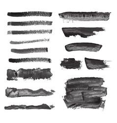 dark black grunge watercolor ink texture set vector image vector image