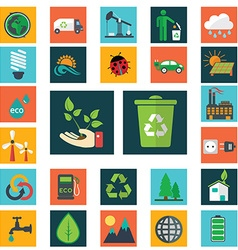 Energy and industry icons set go green icons vector