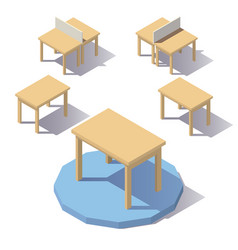 isometric low poly table vector image