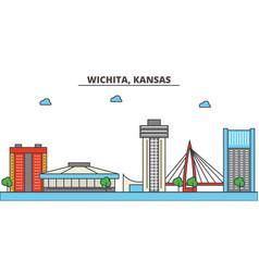 Kansas wichitacity skyline architecture vector