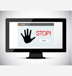 Stop title on computer screen vector