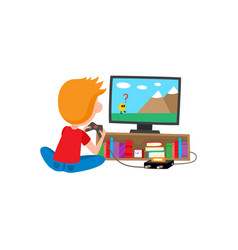 boy sitting on floor playing video game console vector image
