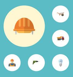 flat icons van bulb handcart elements vector image