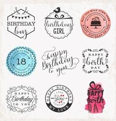 Happy birthday greeting card design elements vector