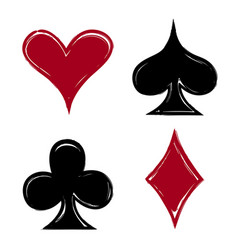 playing card suits icon symbol set hand drawing vector image vector image