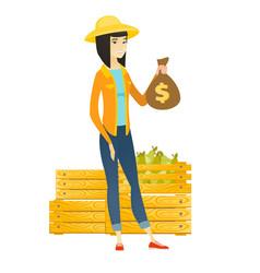 asian farmer holding a money bag vector image vector image
