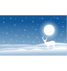 Christmas landscape deer with full snow vector image vector image