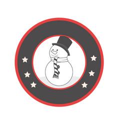Circular emblem with grayscale snowman vector