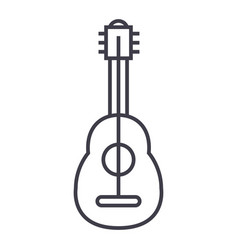 flamenco guitar line icon sign vector image