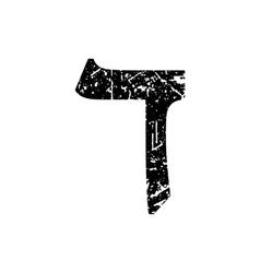 Hebrew letter Dalet Shabby black font The Hebrew vector image vector image