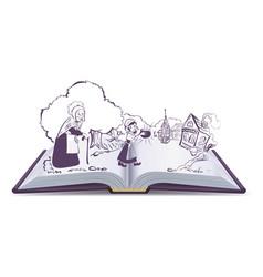 open book fairy tale sweet magic porridge pot vector image vector image
