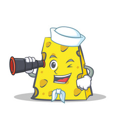 Sailor cheese character cartoon style with vector