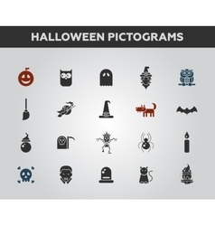 Set of flat design Halloween icons and pictograms vector image
