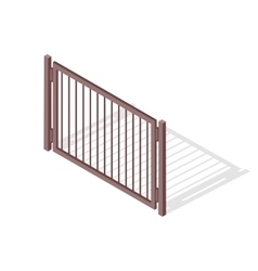 Steel fence section in isometric projection vector