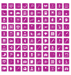 100 diagnostic icons set grunge pink vector image