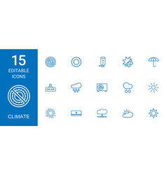 15 climate icons vector image