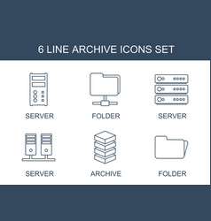 6 archive icons vector