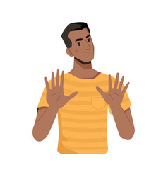 Afro american man showing rejection or denial vector