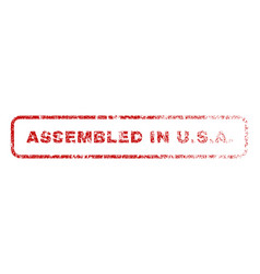 assembled in usa rubber stamp vector image