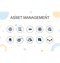 Asset management trendy infographic template thin vector