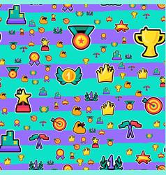 awards color seamless cartoon pattern vector image