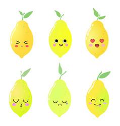 beautiful cute set with cartoon lemons vector image