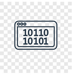 Binary code concept linear icon isolated on vector
