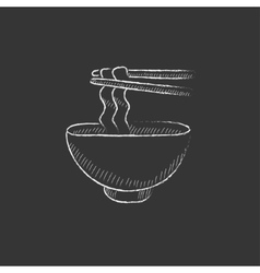 Bowl of noodles with pair chopsticks Drawn in vector