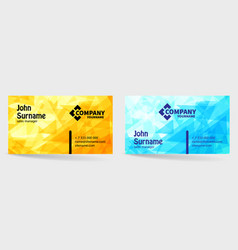 business card bright design with yellow and blue vector image