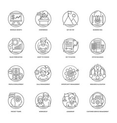 Business line icons 4 vector