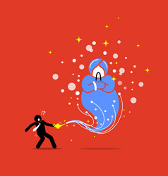 Businessman and a genie in a lamp artwork depicts vector