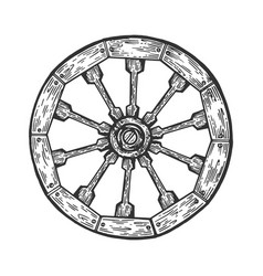 cart old wooden wheel engraving vector image