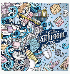 Cartoon doodles bathroom frame vector
