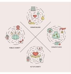 Charity design concept set vector