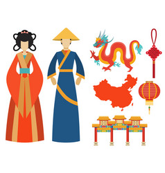 China icons east ancient famous oriental culture vector