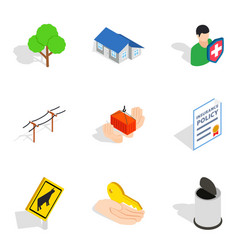 city icons set isometric style vector image