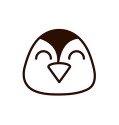 cute face penguin animal cartoon icon thick line vector image