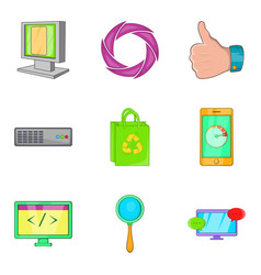 Cyber developed icons set cartoon style vector