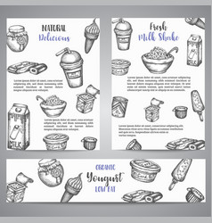 dairy sweet brochure collection hand drawn vector image