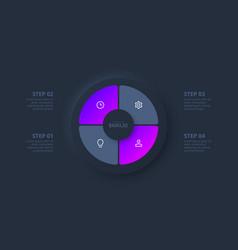 Dark neumorphic circle for infographic template vector