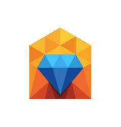 Diamond house real estate logo vector