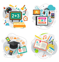e learning education and school concept banners vector image