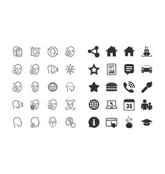 Face recognition line icons set of faces vector
