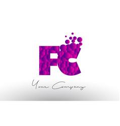 fc f c dots letter logo with purple bubbles vector image